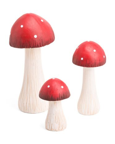 Set Of 3 Outdoor Garden Mushrooms Home Accents T J Maxx