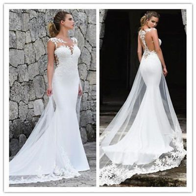 Ad Ebay Mermaid Wedding Dresses Appliques Lace Custom Made Bridal Dress Wedding Gown Lace Princess Wedding Dresses Wedding Dresses Beaded Bridal Dresses