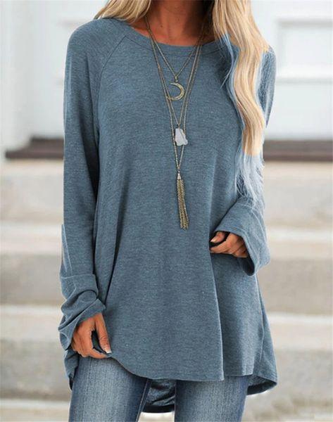 Women Fashion Solid Sweatshirt O-Neck Long Sleeve Zipper Blouse Casual Pullover Jumper Top