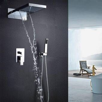 Contemporary Modern Volume Complete Shower System With Rough In Valve Shower Systems Fixed Shower Head Shower Heads