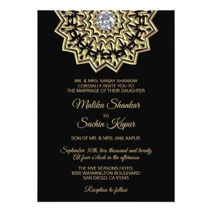 Elegant Mandala Gold Black Indian Wedding Invitation Zazzle Com