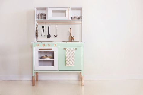 IKEA play kitchen makeover - like this but in pale blue with silver accessories.