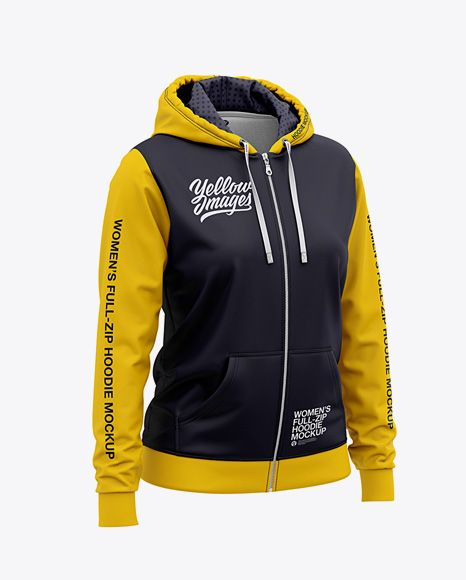 Download Women S Full Zip Hoodie Front Half Side View Of Hooded Sweatshirt In Apparel Mockups On Yellow Images Object Mockups Clothing Mockup Hoodie Mockup Shirt Mockup