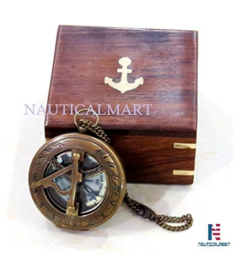 Copper Brass Compass with Sundial Clock and Wooden Box Vintage Anchor Sign Decor