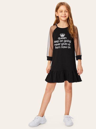 Ruchende jurk voor meisjes met mouwafdrukken met mesh | SHEIN ES