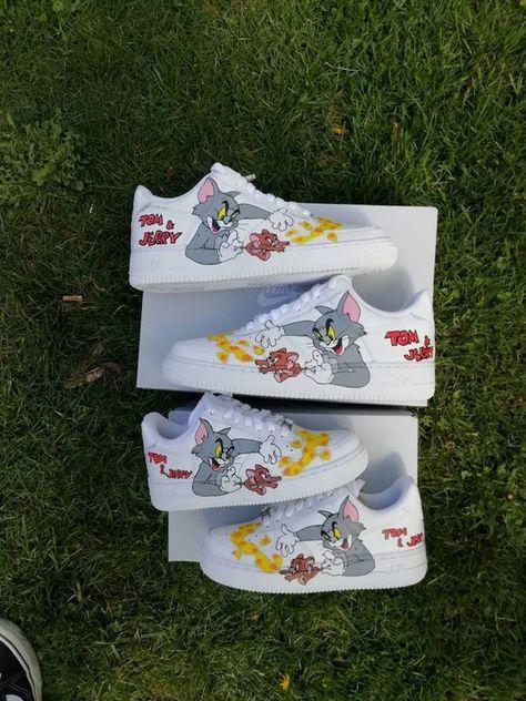 Aangepaste Nike Air Force tom en jerry aangepaste sneakers