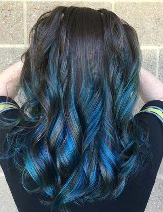 Highlight Ideas For Dark Brown Hair Electric Blue Highlights Brownhair Brown Blonde Hair Brown Hair Dye Blue Brown Hair