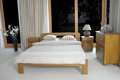Our Beds Available In Many Sizes And Colors This Time We Present You A Double Bed In Oak Color It Is Also Available In Sin Wooden Bed Frames Bed Wooden Bed