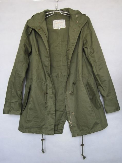 Easy Leisure Girl Army Green Military Parka Button Trench Hooded Coat Jacket