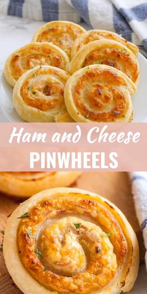 Ham and Cheese Pinwheels are made with cream cheese, sliced deli ham, and cheese and make a quick and easy snack or appetizer. These baked puff pastry roll-ups taste great served hot or cold. Watch the video to see how easy they are to make from scratch! #Pinwheels #EasyAppetizer