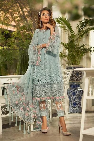 Pakistani Classy Festive Dress In light Sky Blue Color. Work Embellished With Chiken Kari Work Cutwork Threads Floral Embroidery.