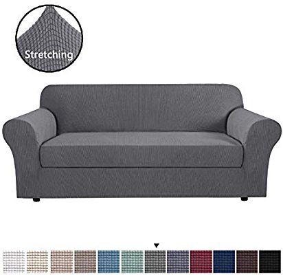 Amazon Com H Versailtex High Stretch Jacquard 2 Pieces Sofa Slipcover Sofa Cover Navy Couch Cover Furniture Sofa Washable Sofa Slipcovers Slipcovered Sofa