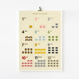Learn to count animal in French / German / Spanish / Italian / English / Japanese 8x10 on A4 poster
