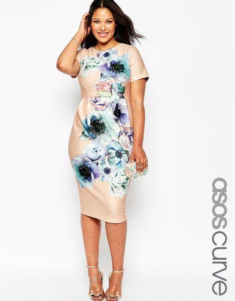 Bild 1 von ASOS CURVE – Schmales Kleid mit Wasserfarben-Print