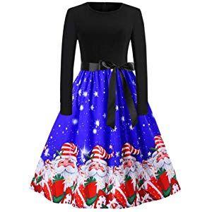 Izhh Damen Vintage Kleider Weihnachten Frauen Geschenk Langarm O Hals Weihnachtsmann Druck Vintage Kleid Abend Par Weihnachtskleider Damen Vintagekleid Kleider