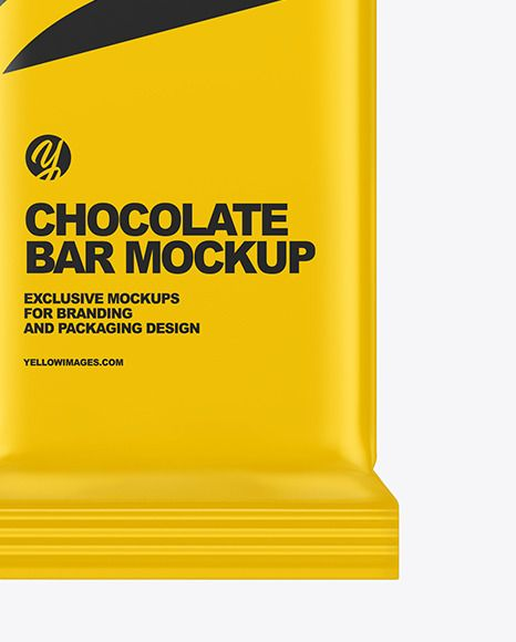 Matte Chocolate Bar Mockup In Flow Pack Mockups On Yellow Images Object Mockups In 2021 Chocolate Bar Chocolate Wrapping Packaging Design