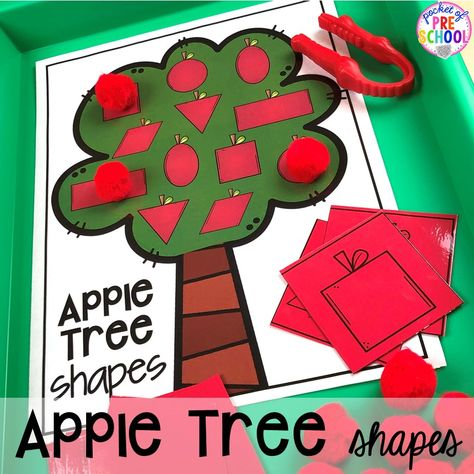 Apple tree shape game plus more apple activities and centers perfect for preschool, pre-k, and kindergarten. #appletheme #preschool #prek #appleactivities