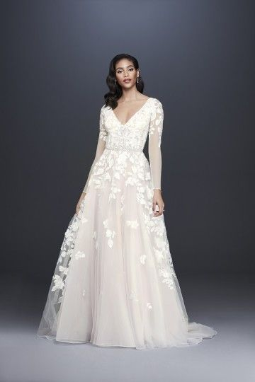 Long Sleeves Ball Gown Wedding Dress With Lace Appliques And Tulle Skirt David S Bridal Ball Gown Wedding Dress Davids Bridal Wedding Dresses Wedding Dresses