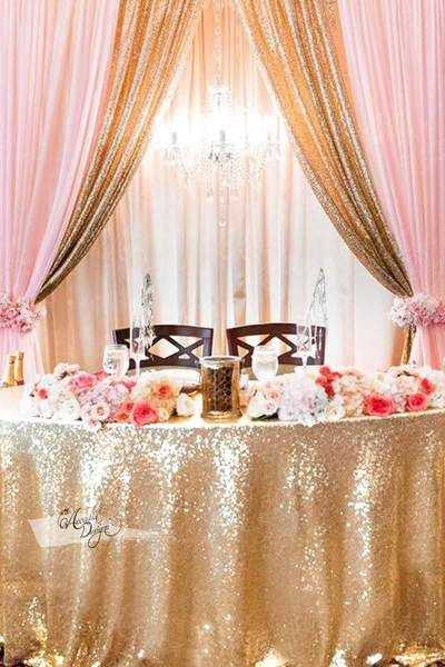 Bright Gold Sequin Sweet Table Cloth Wedding Night Room