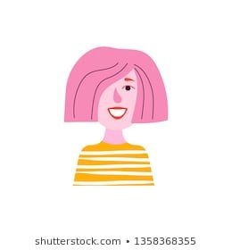 Sute Avatar Of A Woman With Pink Hair Icon Of Pretty Girl Of The Creative Lifestyle Or Profession Vector Illustratio Pink Hair Character Design Creative Life