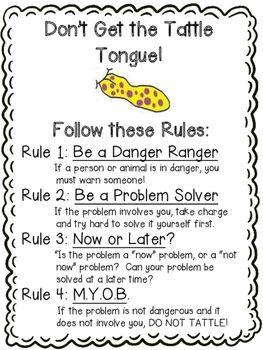 A Bad Case Of Tattle Tongue Activities Classroom Behavior