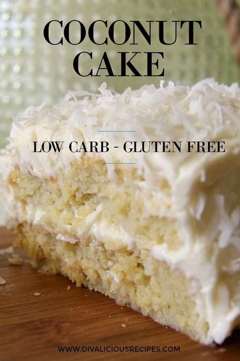 This is a coconut cake for coconut lovers as it's made with coconut flour and decorated with coconut on top of a creamy cream cheese frosting. A low carb cake for coconut lovers. Gluten Free Coconut Cake, Coconut Flour Cakes, Gluten Free Cakes, Cream Of Coconut Cake, Recipe With Coconut, Desserts With Coconut Flour, Coconut Cake Frosting, Coconut Flour Recipes Low Carb, Coconut Ideas