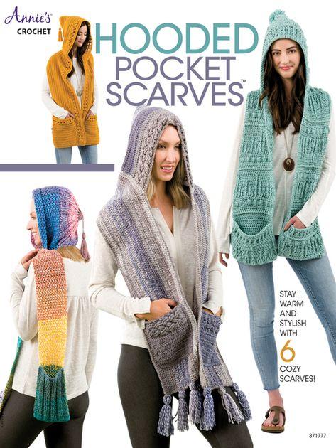 Hooded Scarf Pattern, Crochet Hooded Scarf, Crochet Hoodie, Crochet Scarves, Crochet Clothes, Diy Clothes, Scarf Patterns, Annie's Crochet, Crochet Books