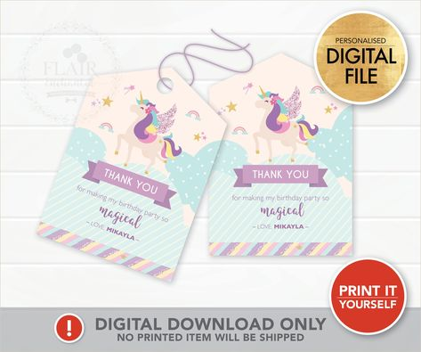 Unicorn Favor Tag (DIGITAL FILE) #UnicornFavorLabel #ThankYouTag #PartyLabel #UnicornPartySupply #unicornparty #unicornswingtag #unicorndecor #personalisedpartyfavor #personalisedfavortag #unicorninvitation #kidspartyideas #flairenchanted #partythemes #partydecor