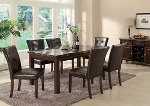 Milton Cappuccino Dining Table W 6 Side Chairs Server