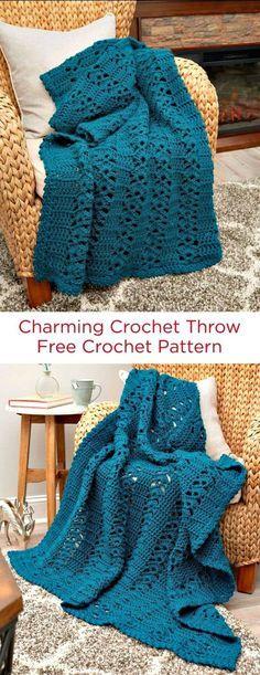 Crochet Charming Afghan Throw Blanket Pattern - Crochet Afghan Patterns - 41 Free Patterns for Beginners - DIY & Crafts