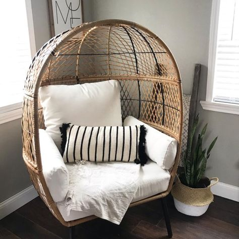 Patio Wicker Accent Egg Chair Bench Deep With Cream Cushions Garden Porch Yard Boho Living Room, Living Room Chairs, Living Room Decor, Lounge Chairs, Eames Chairs, Patio Chairs, Adirondack Chairs, Side Chairs, Room Ideas Bedroom
