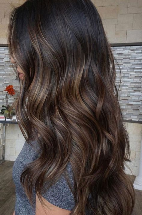 Long Wavy Ash-Brown Balayage - 20 Light Brown Hair Color Ideas for Your New Look - The Trending Hairstyle Chocolate Brown Hair Color, Brown Ombre Hair, Brown Hair Balayage, Light Brown Hair, Hair Color Balayage, Brown Hair Colors, Shades Of Brown Hair, Medium Brown Hair Color, Light Brown Highlights