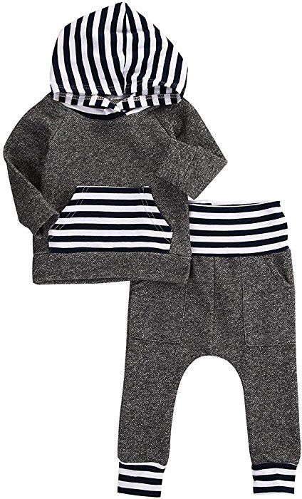 Infant Kid Baby Boy Girl Clothes Warm Hooded Tops Sweatshirt+Pants Outfits Sets