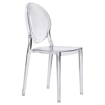 Stackable French Antiquity Style Polycarbonate Dining Chair Set