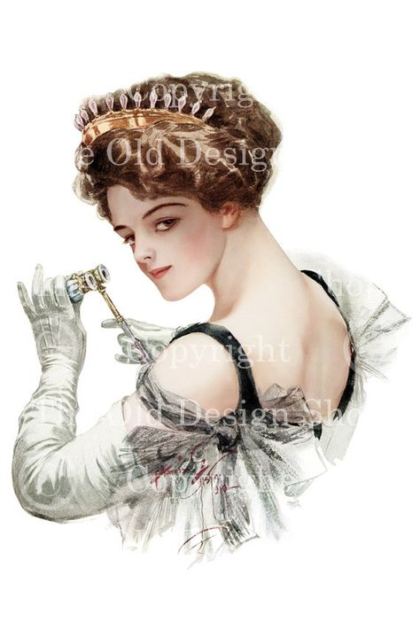 Harrison Fisher Printable Art Edwardian Lady with Opera