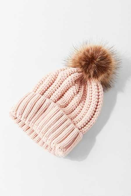 acc46294312b7 White knitted beanie with 2 faux fur pom poms to make you look like a little  koala