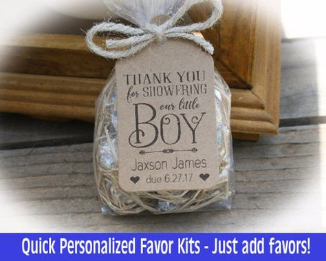Boy Baby Shower Favor DIY favor kits for candy or other sweets/TREATS at your baby shower. Each tag is printed as shown and cut from a kraft cardstock. Also includes 8 of vintage style seambinding per tag for attaching tags to your favors. _______________________________________  WHAT YOU GET  DIY