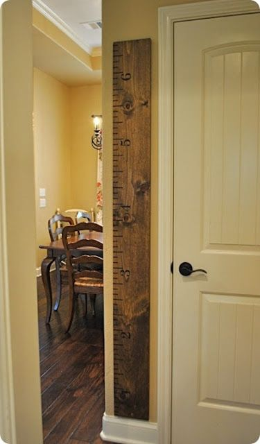 I love this idea...make an old piece of wood look like a ruler. I'm gonna do it.