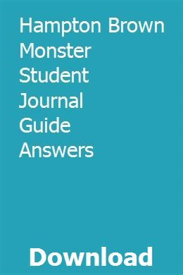 Hampton Brown Monster Student Journal Guide Answers