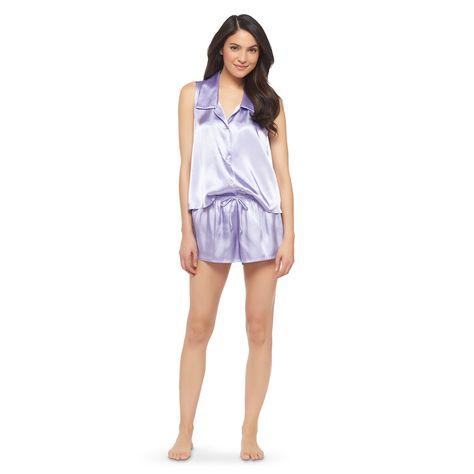 9f37369b9f Women s Satin Shorts Pajama Set Lavender XS