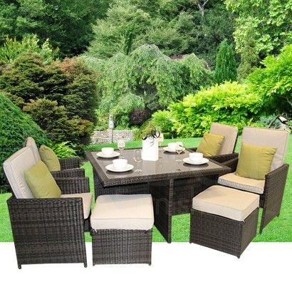 Maze Rattan 5 Piece Cube Set With Footstools With Images Rattan Garden Furniture Garden Furniture Outdoor Furniture Sets