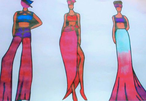 This is my final line up I have created. Inspired by the theme 'Deep Summer' I have created a collection that is in the colours pink, purple, blue and red, all of my outfits have crop tops and loose fitting bottoms. They all match accordingly and are onto the same style.