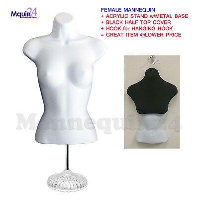 Female Torso Mannequin Dress Form Display BLACK  w// METAL STAND Hanging Hook