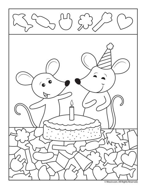 Birthday Cake Hidden Picture Party Printable Logika Boyama