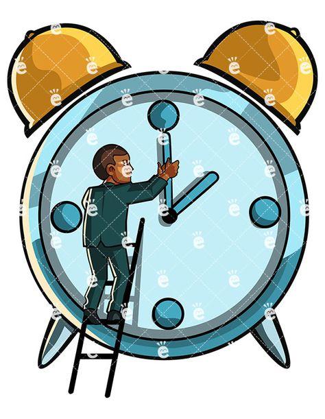 Black Man Turning Back To Time Cartoon Vector Clipart Friendlystock Huge Clock Time Cartoon Clock