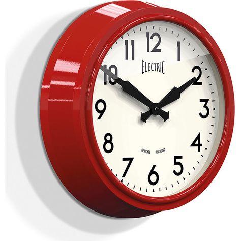 Newgate Clocks 50 S Electric Wall Clock Biscuit Box Red Clock Newgate Clocks Red Wall Clock