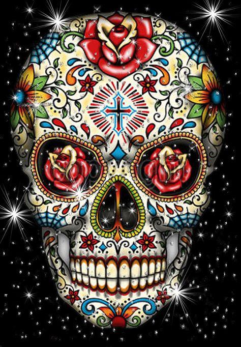 Sugar Skull With Cross Tattoo T-Shirt Plus Size- Supersize T762F Rhinestone Dotd