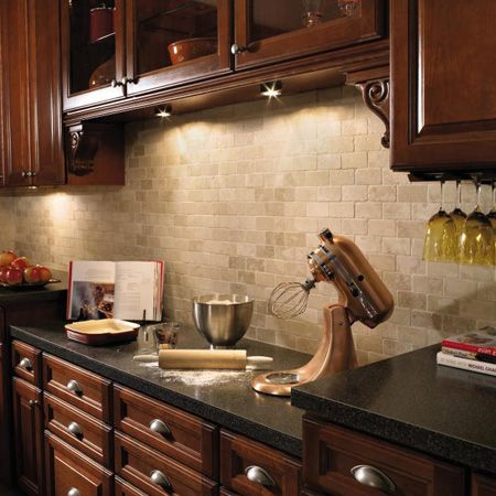 Cherry cabinetscream tile backsplash dark countertops Love