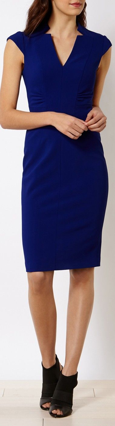 Sophisticated Karen Millen Navy Blue dress. Add some gold layered bracelets and a initial disc necklace - www.chasingbeads.co uk
