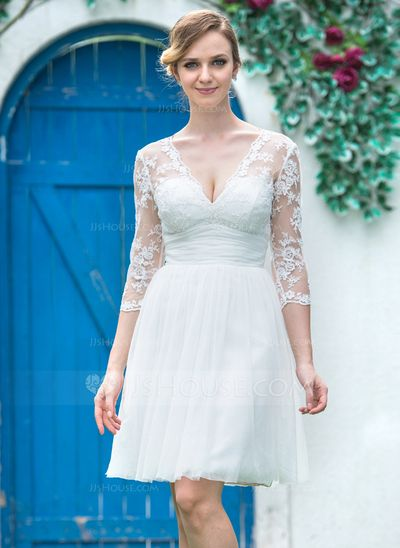 v neck knee length wedding dress